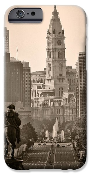 Franklin Digital Art iPhone Cases - The Parkway in Sepia iPhone Case by Bill Cannon