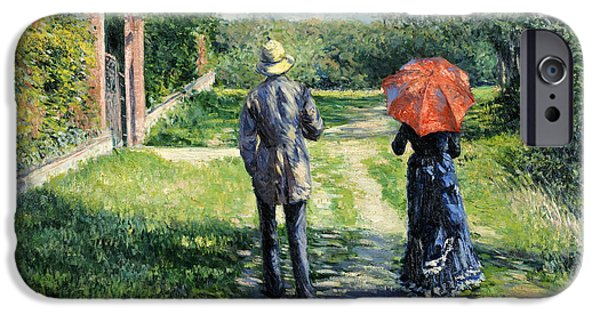 Nineteenth iPhone Cases - The Path Uphil iPhone Case by Gustave Caillebotte