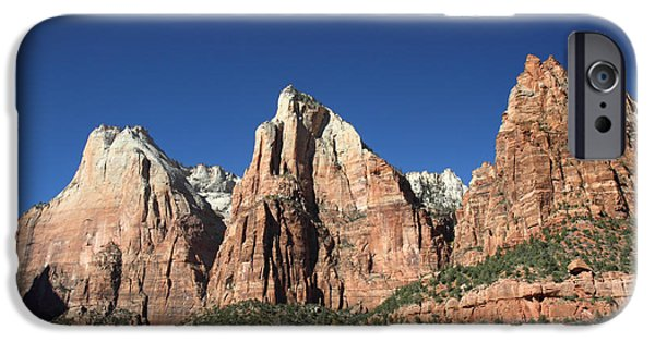 Patriarch iPhone Cases - The Patriarchs in Zion National park iPhone Case by Pierre Leclerc Photography