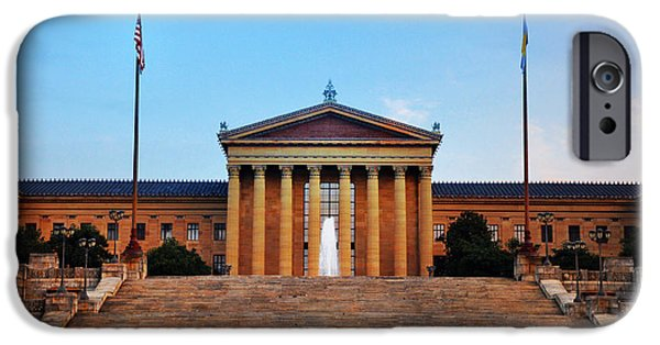 Stallone Digital iPhone Cases - The Philadelphia Museum of Art Front View iPhone Case by Bill Cannon