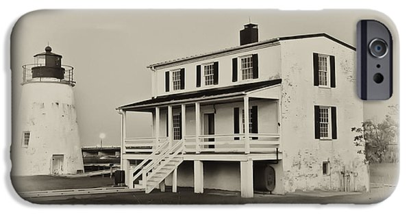 House Md iPhone Cases - The Piney Point Lighthouse in Sepia iPhone Case by Bill Cannon