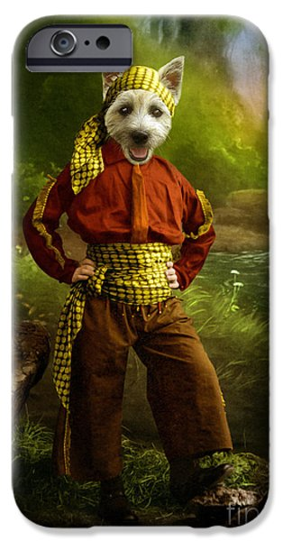Funny Dog Digital Art iPhone Cases - The Pirate iPhone Case by Martine Roch