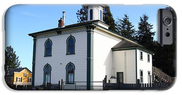 Bodega Bay iPhone Cases - The Potter School House . Bodega Bay . Town of Bodega . California . 7D12472 iPhone Case by Wingsdomain Art and Photography