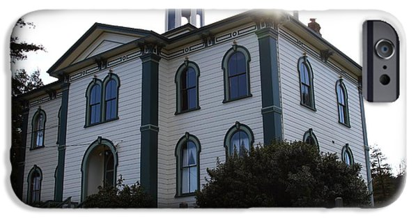Bodega Bay iPhone Cases - The Potter School House . Bodega Bay . Town of Bodega . California . 7D12477 iPhone Case by Wingsdomain Art and Photography