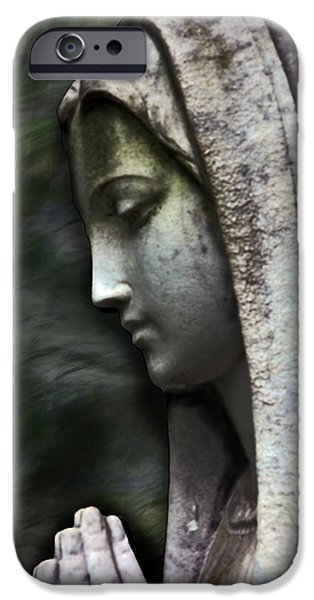 Mother Mary Digital Art iPhone Cases - The Prayer iPhone Case by Kelly Rader