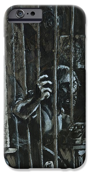 Charcoal Mixed Media iPhone Cases - The Prisoner iPhone Case by David Finley