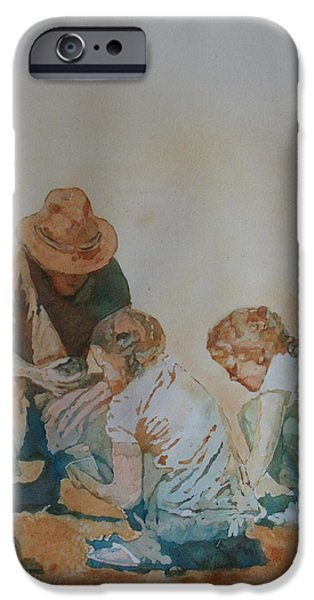 Figures Paintings iPhone Cases - The Pumice Seekers iPhone Case by Jenny Armitage