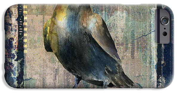 Crows Mixed Media iPhone Cases - The Raven iPhone Case by Arline Wagner
