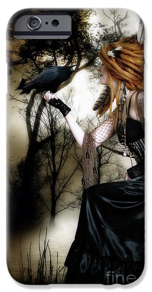 Fantasy Art iPhone Cases - The Raven iPhone Case by Shanina Conway