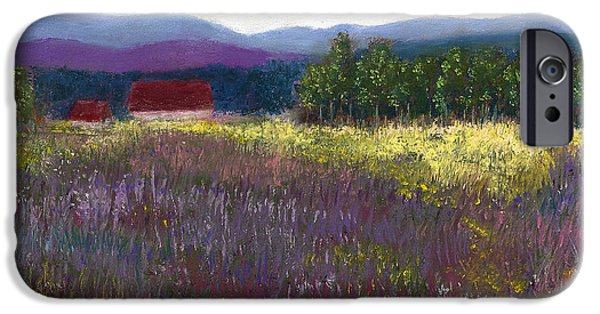Barn Landscape Pastels iPhone Cases - The Red Barn iPhone Case by David Patterson