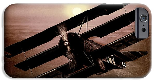 Wwi iPhone Cases - The Red Barons Fokker at Sunset iPhone Case by Chris Lord