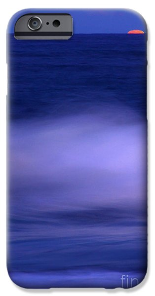 Decorativ iPhone Cases - The Red Moon And The Sea iPhone Case by Hannes Cmarits