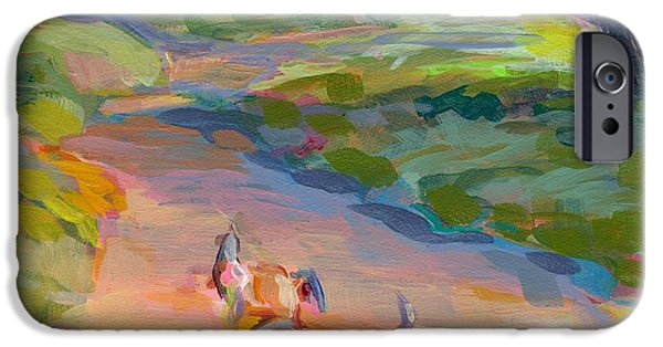 Puppy Paintings iPhone Cases - The Road Ahead iPhone Case by Kimberly Santini