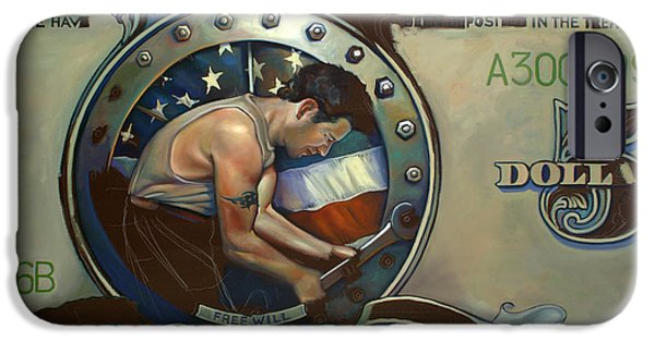 Old Glory Paintings iPhone Cases - The Road to Serfdom WIP iPhone Case by Patrick Anthony Pierson