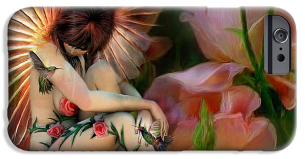 Fantasy Mixed Media iPhone Cases - The Rose Fairy iPhone Case by Carol Cavalaris