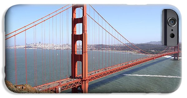 Golden Gate iPhone Cases - The San Francisco Golden Gate Bridge . 7D14507 iPhone Case by Wingsdomain Art and Photography