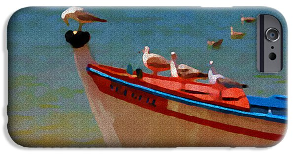 Tall Ship Mixed Media iPhone Cases - The Sea Gulls iPhone Case by Jann Paxton