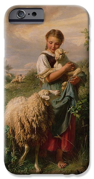 Animal Portraits iPhone Cases - The Shepherdess iPhone Case by Johann Baptist Hofner