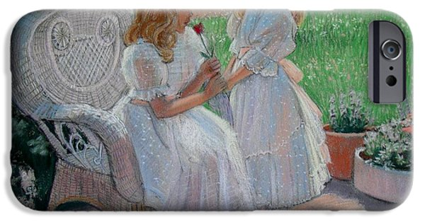 Rose Pastels iPhone Cases - The Sisters Garden iPhone Case by Sue Halstenberg