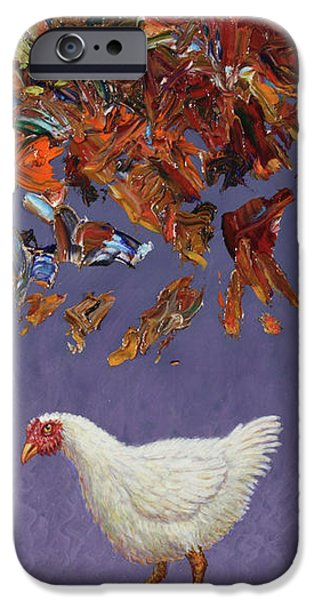Chickens iPhone Cases - The sky IS falling iPhone Case by James W Johnson