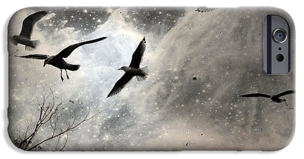 Flying Seagull iPhone Cases - The Stars iPhone Case by Gothicolors Donna Snyder