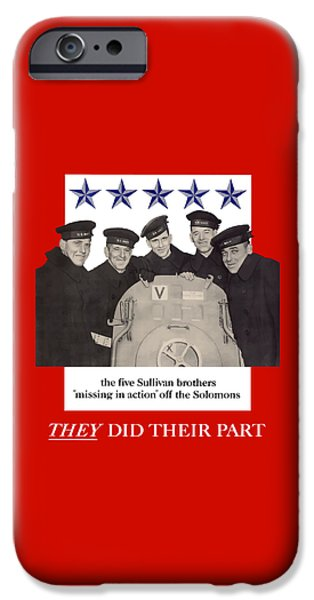 Brother iPhone Cases - The Sullivan Brothers iPhone Case by War Is Hell Store