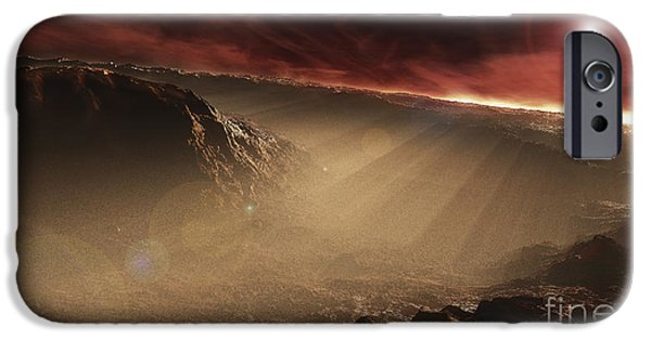 Mounds Digital iPhone Cases - The Sun Rises Over Gale Crater, Mars iPhone Case by Steven Hobbs
