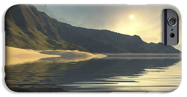 Flying Seagull Digital Art iPhone Cases - The Sun Sets On A Beautiful iPhone Case by Corey Ford
