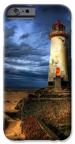 Navigation Digital iPhone Cases - The Talacre Lighthouse iPhone Case by Adrian Evans