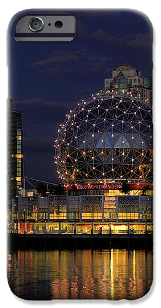 THE TELUS SCIENCE CENTER AT NIGHT iPhone Case by LAWRENCE CHRISTOPHER