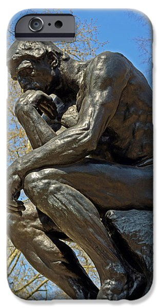 Thinking iPhone Cases - The Thinker by Rodin iPhone Case by Lisa  Phillips