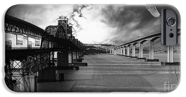 Bay Bridge iPhone Cases - The Three Benicia-Martinez Bridges . A Journey Through Time . Black and White iPhone Case by Wingsdomain Art and Photography