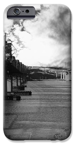 The Three Benicia-Martinez Bridges . A Journey Through Time . Black and White iPhone Case by Wingsdomain Art and Photography
