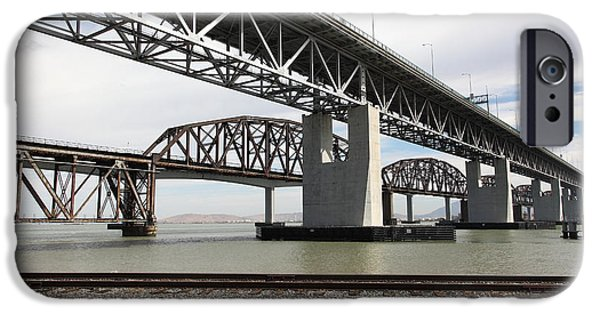 Bay Bridge iPhone Cases - The Three Benicia-Martinez Bridges in California - 5D18662 iPhone Case by Wingsdomain Art and Photography