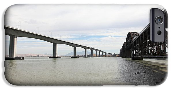 Bay Bridge iPhone Cases - The Three Benicia-Martinez Bridges in California - 5D18714 iPhone Case by Wingsdomain Art and Photography