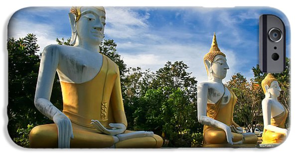 Sitting Digital Art iPhone Cases - The Three Buddhas  iPhone Case by Adrian Evans