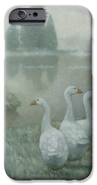 Country Snow iPhone Cases - The Three Geese iPhone Case by Steve Mitchell