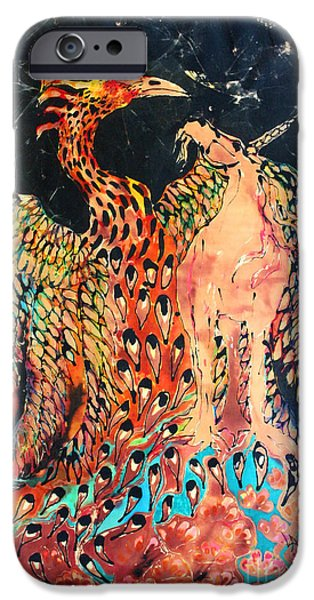 Emergence Tapestries - Textiles iPhone Cases - The Unicorn and Phoenix Rise from the Earth iPhone Case by Carol Law Conklin