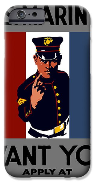Recently Sold -  - Ww1 iPhone Cases - The U.S. Marines Want You  iPhone Case by War Is Hell Store