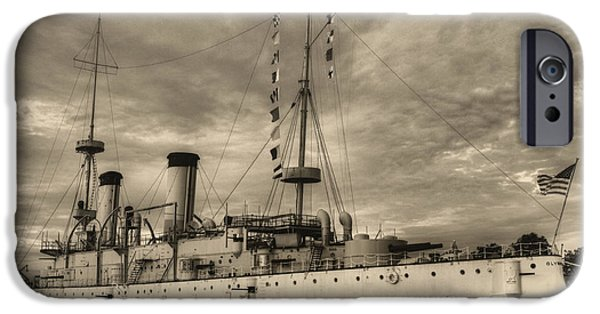 World War One iPhone Cases - The USS Olympia Black and White iPhone Case by JC Findley