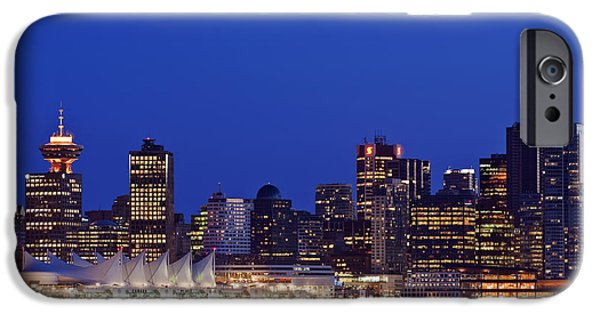 Man Made Space iPhone Cases - The Vancouver Skyline At Twilight Or iPhone Case by Rob Tilley