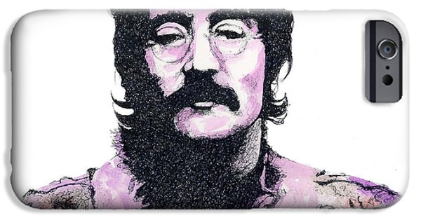 John Lennon Drawings iPhone Cases - The Walrus in Pink iPhone Case by Chris Mackie