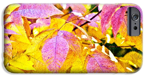 Park Scene Mixed Media iPhone Cases - The Warm Glow In Autumn Abstract iPhone Case by Andee Design