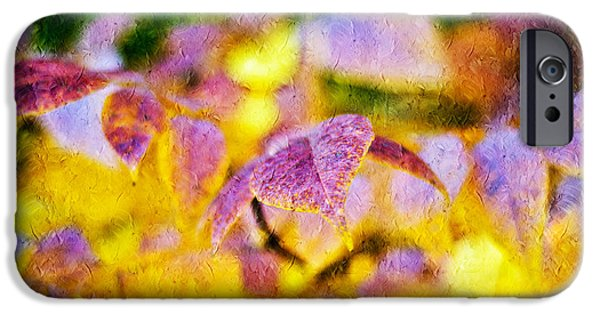 Macro Mixed Media iPhone Cases - The Warmth of Autumn Glow Abstract iPhone Case by Andee Design