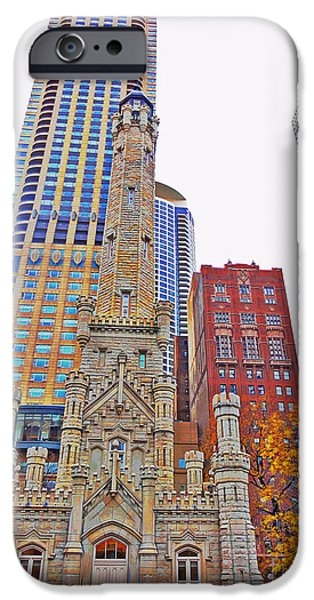 Sears Tower iPhone Cases - The Water Tower in Autumn iPhone Case by Mary Machare