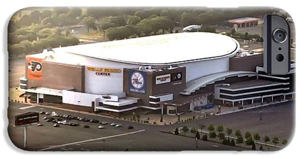 Philadelphia Phillies Stadium Digital Art iPhone Cases - The Wells Fargo Center iPhone Case by Bill Cannon