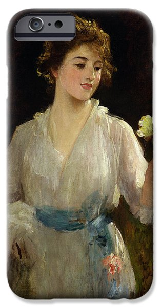 Nineteenth iPhone Cases - The Yellow Rose iPhone Case by Sir Samuel Luke Fildes