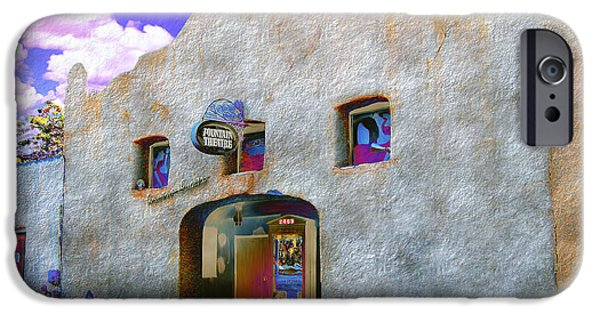 Las Cruces Digital Art iPhone Cases - Theater Night Mesilla iPhone Case by Kurt Van Wagner