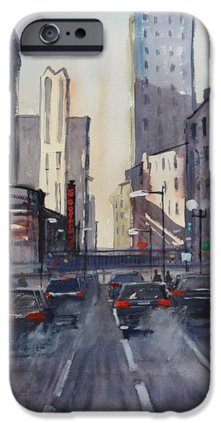 Chicago Paintings iPhone Cases - Theatre District - Chicago iPhone Case by Ryan Radke