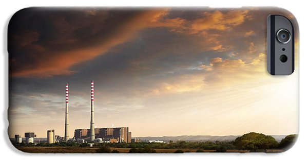 Chimney iPhone Cases - Thermoelectrical Plant iPhone Case by Carlos Caetano